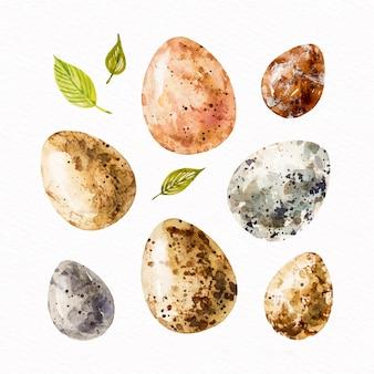 Коллекция пасхальных яиц в акварельном стиле