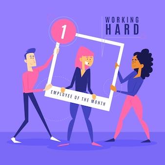 今月の従業員のための勤勉な女性