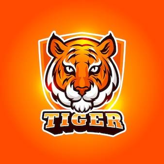 Талисман дизайн логотипа с тигром