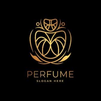 Парфюмерный логотип класса люкс золотистый дизайн