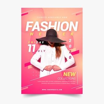 写真とカラフルなデザインのファッションポスター