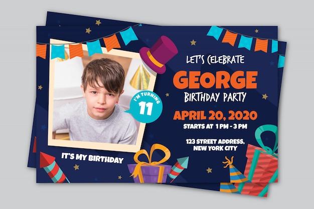 写真付きの子供の誕生日の招待状テンプレート