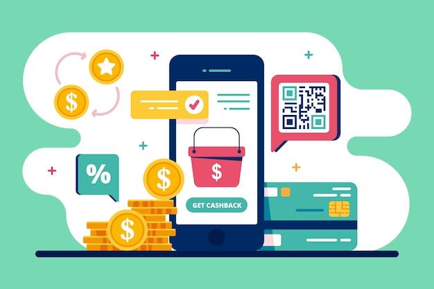 Концепция кэшбэка со смартфоном и монетами