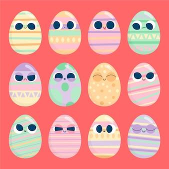 フラットなデザインのイースターの日卵コレクション