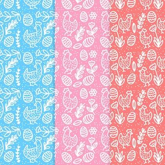 手描きイースター日パターンコレクション