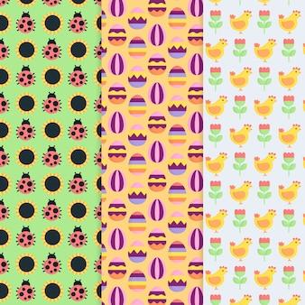 Плоский дизайн коллекции шаблон пасхальный день