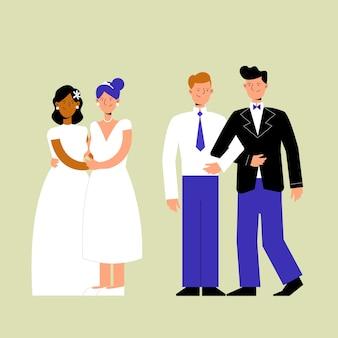 結婚式のカップルのイラストパック