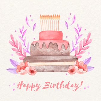 ケーキと水彩の誕生の背景