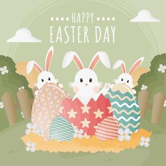 Плоский стиль счастливого пасхального дня с кроликами