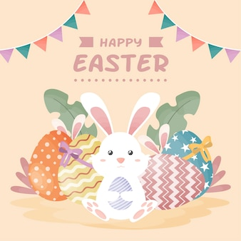 Счастливого пасхального дня с кроликом