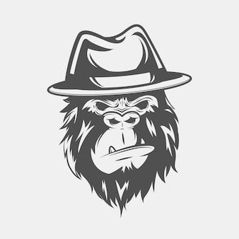 Винтажный гангстер персонаж в шляпе