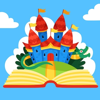 Сказочный волшебный замок и дракон