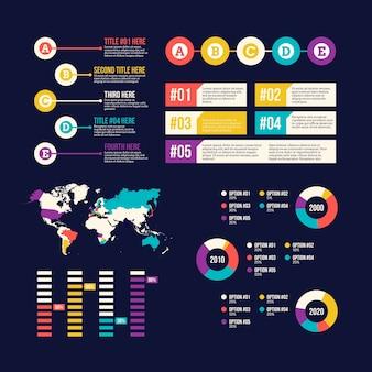 インフォグラフィック要素のコレクションと世界地図
