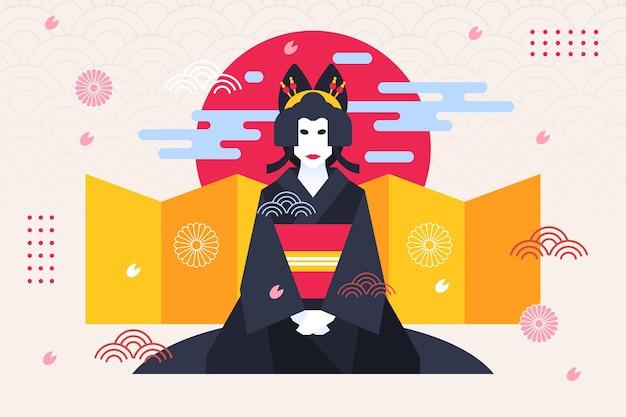 Гейша женщина геометрический фон японский стиль