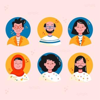 Набор плоских стилей аватаров людей