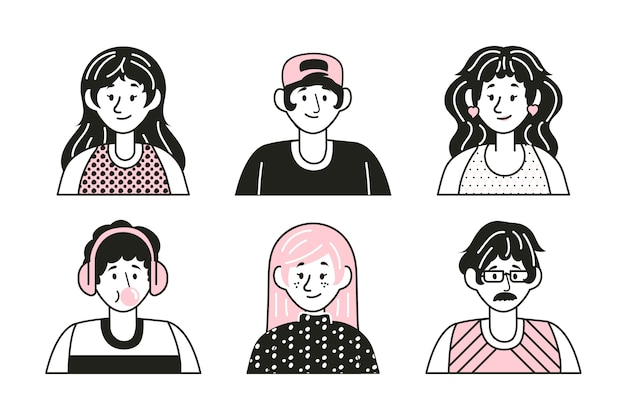 Разнообразные лица, счастливые выражения людей, аватары