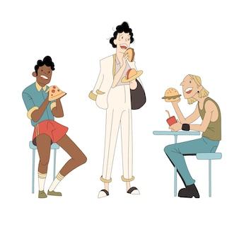Различные типы людей едят фаст-фуд