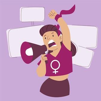 メガホンで叫んでいる女性