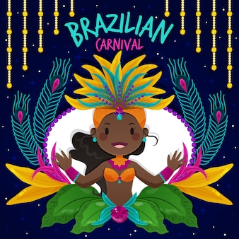 Плоский дизайн концепции бразильского карнавала