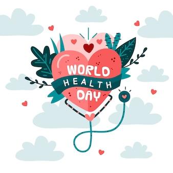 Нарисованная рукой концепция дня здоровья мира