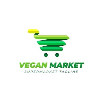 グリーンカートとスーパーマーケットのロゴデザイン