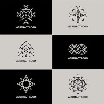 Абстрактный дизайн линейный логотип набор
