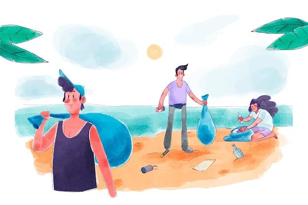 一緒にビーチを掃除する人