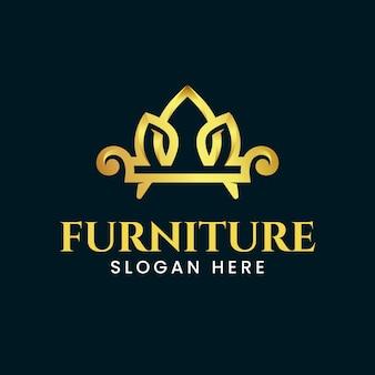ソファ付きのエレガントな家具ロゴ