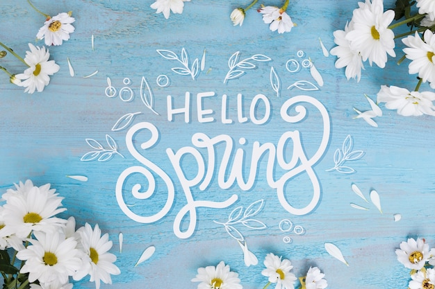 こんにちは春の写真とレタリング