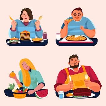 Люди с едой едят вместе