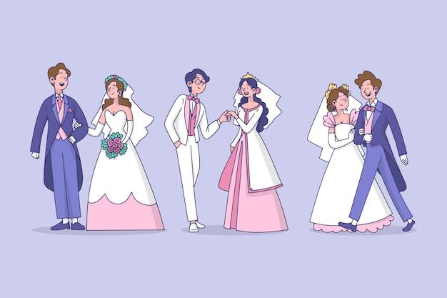 イラストの結婚式のカップルのデザイン