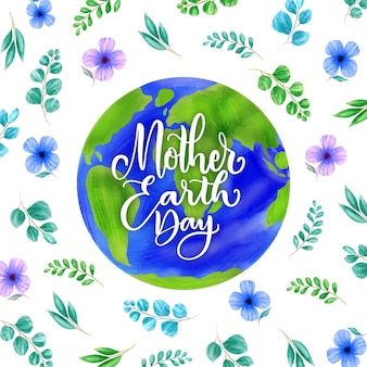 葉と花の水彩画の母地球の日