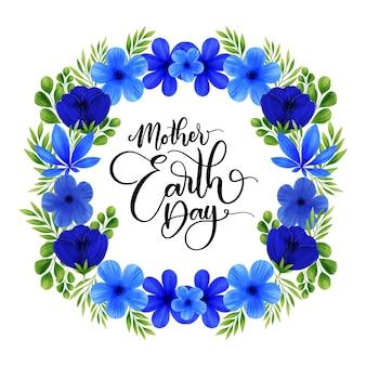 花の花輪と母なる地球の日