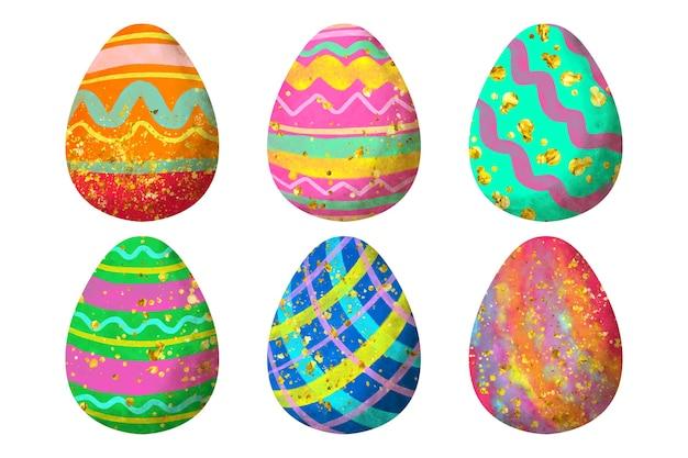 Акварель дизайн пасхальное яйцо набор