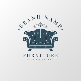 レトロな家具のロゴのテンプレートデザイン