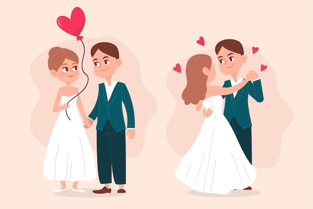 図解結婚式のカップルコレクションテーマ