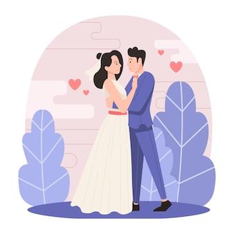 イラストの結婚式のカップルのテーマ