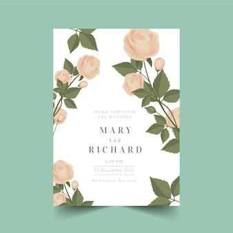 パステルカラーのピンクのバラの結婚式の招待状
