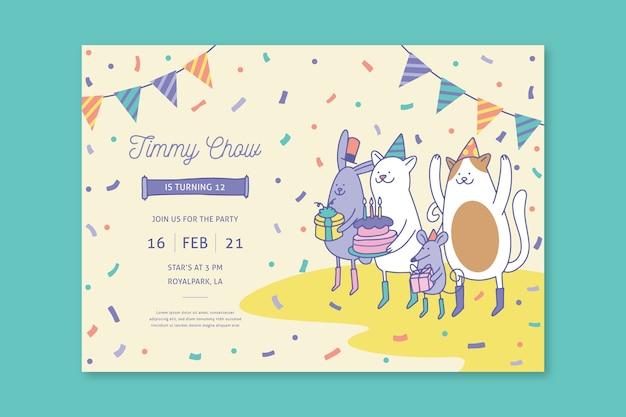 イラストと子供の誕生日カードテンプレート