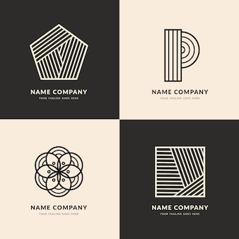 抽象的な線状のロゴのテンプレート