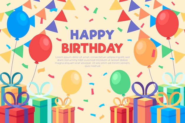 Плоский дизайн темы обоев на день рождения