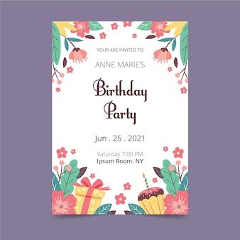 花柄の誕生日カード