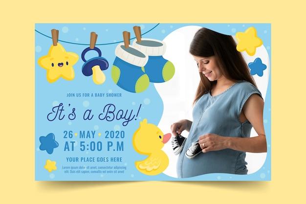 写真と赤ちゃん男の子シャワーの招待状