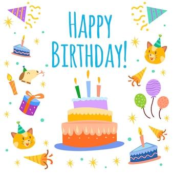 День рождения торт фон