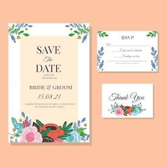 Цветочный шаблон свадебного приглашения
