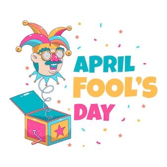 Нарисованный от руки апреля дураков день праздничный день