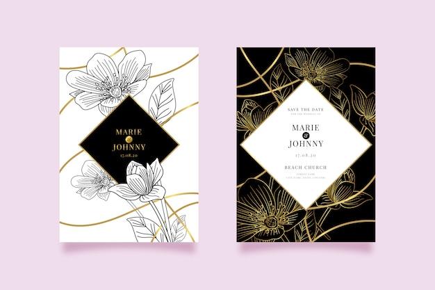 豪華な結婚式の招待状のテンプレートデザイン