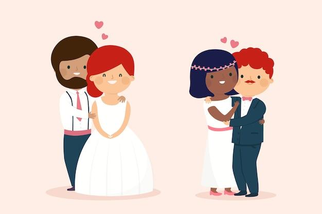 結婚式のカップルの図の概念