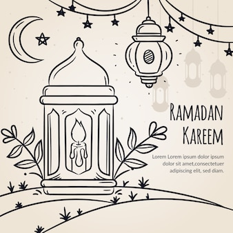Нарисованная от руки тема рамадана