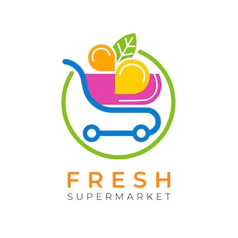 ショッピングカートとスーパーマーケットのロゴ
